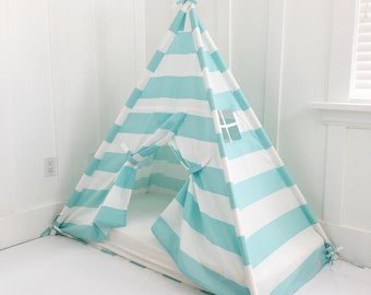 Play Tent Canopy Bed in Aqua Turquoise WITH Doors