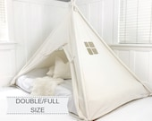 Play Tent Canopy Bed in Natural Canvas WITH Doors - Double Full