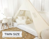 Play Tent Canopy Bed in Natural Canvas - Twin