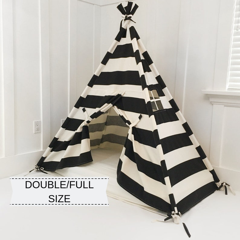 Play Tent Canopy Bed in Natural Canvas & Black Stripe WITH image 0