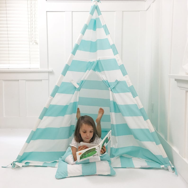 quality design 05b28 f77bd Kids Play Tent Teepee Handmade in Turquoise/Aqua and White Stripe Designer  Cotton Fabric. Comes With Padded Mat Base AND Two Pillows!