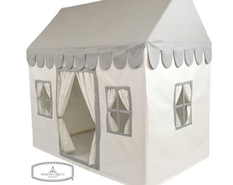 Kids Playhouse - Soft Cotton Canvas in Gray and White