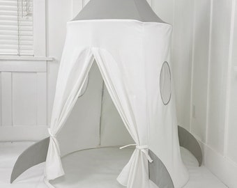 Spaceship Play Tent - Gray and White Soft Cotton Canvas with Storage Bags