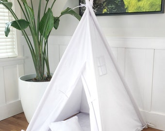 Regular Size Children's Play Tent Teepee Handmade for Kids in White Twill. With Two Pillows - NO MAT