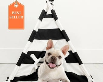 Pet Teepee Tent in Black and White Cotton Fabric
