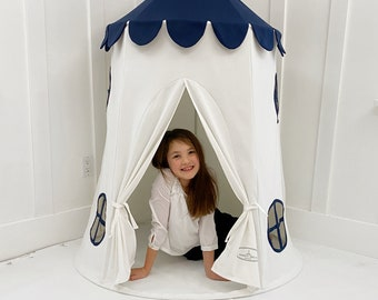 Tower Tent - Navy and White Soft Cotton Canvas with Storage Bags