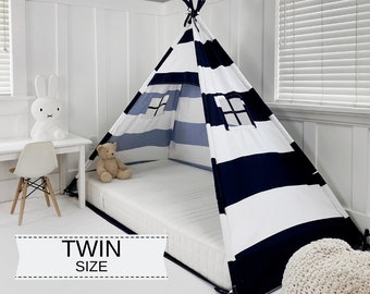 Play Tent Canopy Bed in Navy Blue and White Stripe - Twin