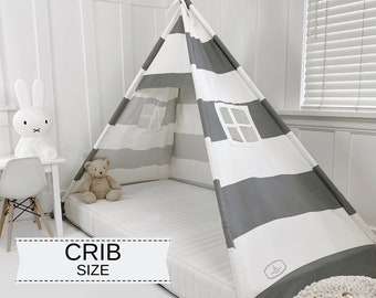 Play Tent Canopy Bed in Gray and White Canvas - Crib