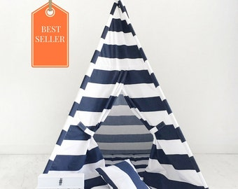 Kids Teepee Play Tent Handmade in Navy Blue White Stripe Designer Cotton Fabric. Comes With Padded Mat Base AND Two Pillows!