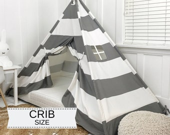 Play Tent Canopy Bed in Gray and White Stripe WITH Doors - Crib