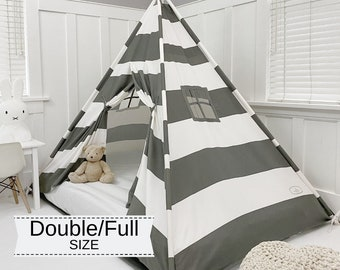 Play Tent Canopy Bed in Gray and White Stripe Canvas WITH Doors - Double/Full