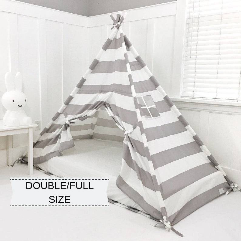 uk availability d2bbf 31146 Play Tent Canopy Bed in Gray/Grey and White Stripe WITH Doors - Double/Full