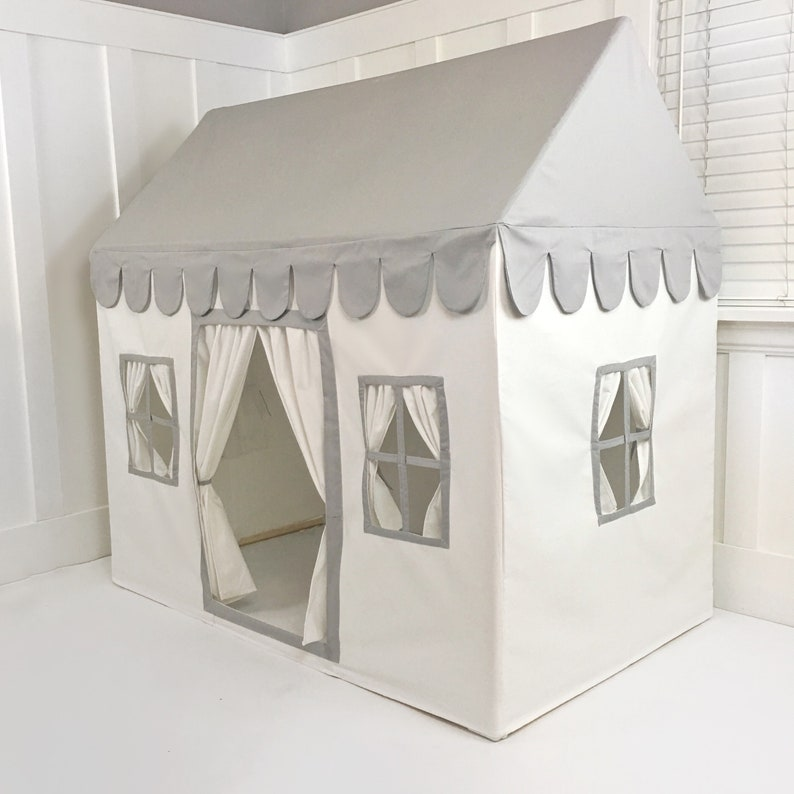 Kids Playhouse in Light Gray/Grey & White Soft Cotton Canvas. image 0