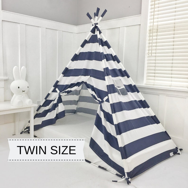 Play Tent Canopy Bed in Navy Blue and White Stripe WITH Doors image 0
