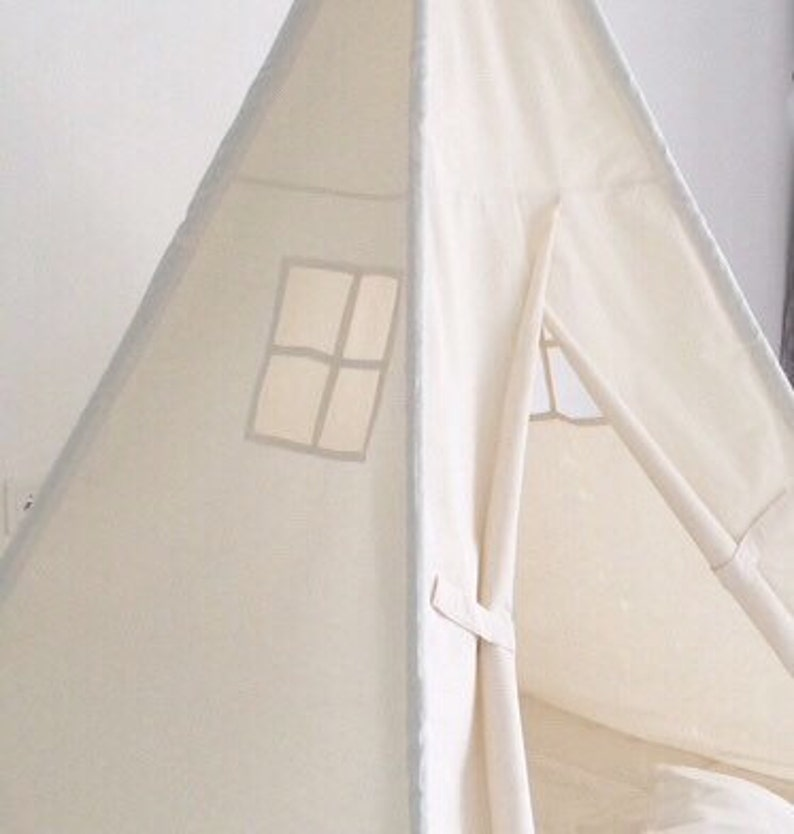 Small Size Children's Play Tent Teepee Handmade for Kids in Natural Canvas   Each Comes with Padded Mat Base and Two Pillows
