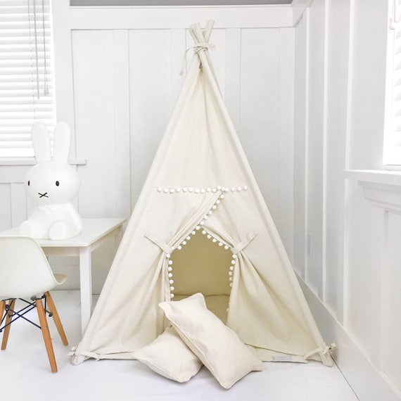 new concept 954dc 5ba80 Small Size Children's Play Tent Teepee Handmade for Kids in Natural Canvas  with Pom Pom Trim. Each Comes with Padded Mat Base.