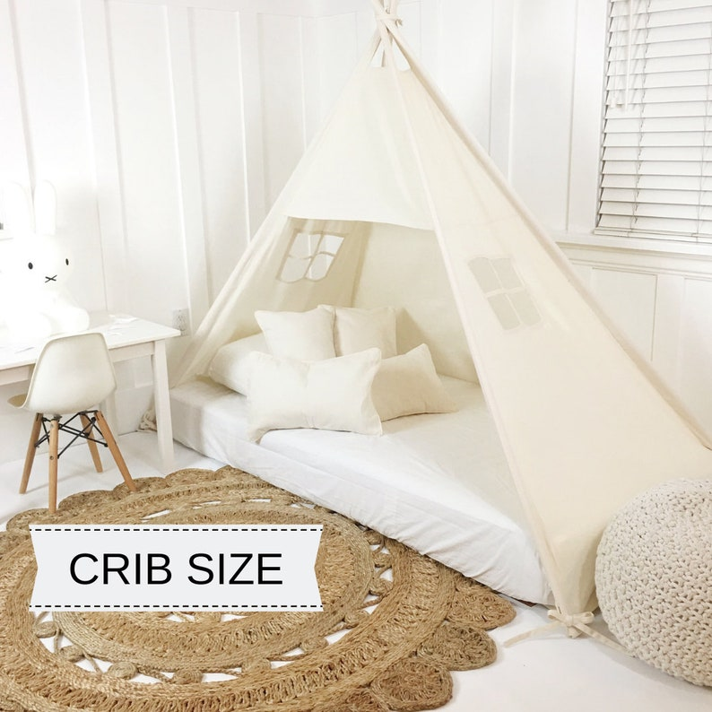 Play Tent Canopy Bed in Natural Canvas  Crib image 0