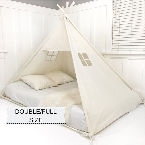 Handmade All Natural Cotton Canopy Play Tent Toddler Bed Great for Transitioning from Crib to Bed