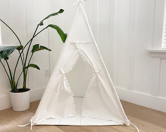 Small Size Children's Play Tent Teepee Handmade for Kids in Cream Canvas with Pom Pom Trim. With mat!