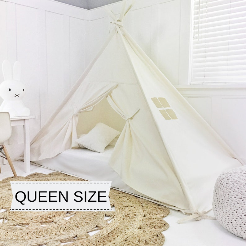 Play Tent Canopy Bed in Natural Canvas WITH Doors  Queen image 0