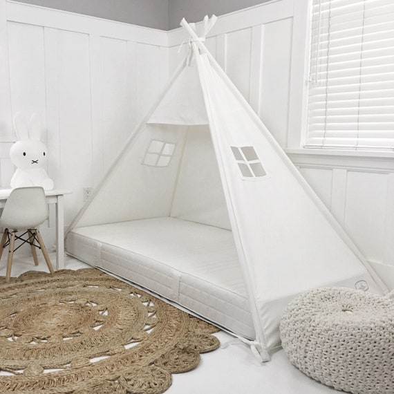 Play Tent Canopy Bed in Natural Canvas Queen 10 thick mattress