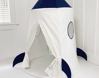 Spaceship Tent - Navy Blue and White Soft Cotton Canvas with Storage Bags