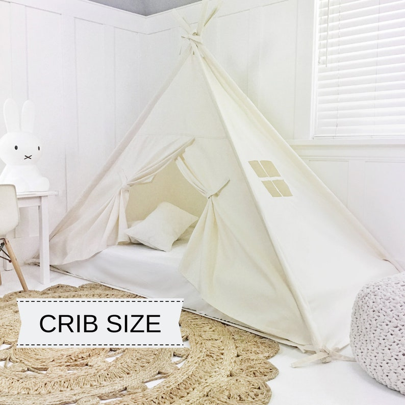Play Tent Canopy Bed in Natural Canvas WITH Doors  Crib image 0