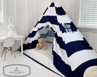 Play Tent Canopy Bed in Navy Blue and White Stripe WITH Doors - Twin