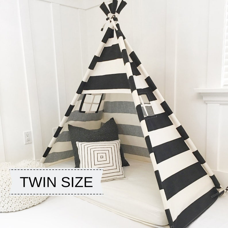 Play Tent Canopy Bed in Natural Canvas & Black Stripe  TWIN image 0