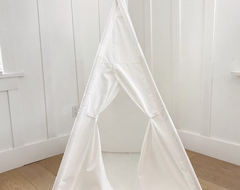 Small Size Children's Play Tent Teepee Handmade for Kids in Cream Canvas -two windows! With Padded Mat.