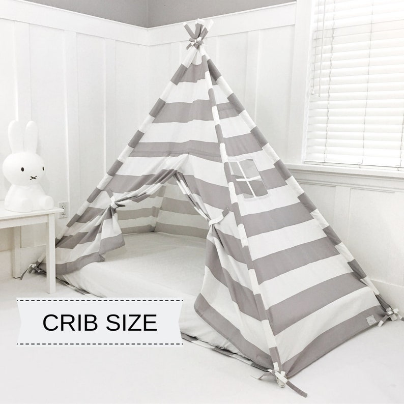 Play Tent Canopy Bed in Gray/Grey and White Stripe WITH Doors image 0