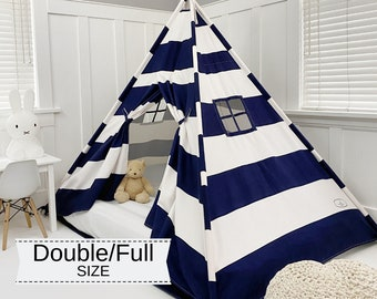 Play Tent Canopy Bed in Navy Blue and White Stripe Canvas WITH Doors - Double/Full
