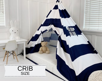 Play Tent Canopy Bed in Navy Blue and White Stripe WITH Doors - Crib