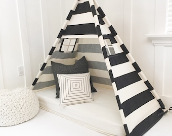 Play Tent Canopy Bed in Natural Canvas & Black Stripe