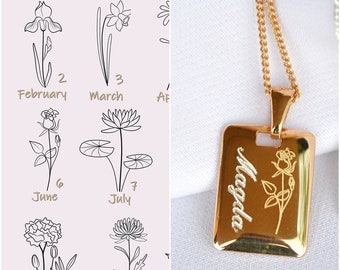 Birth Flower Name Necklace Birth Month Flower Necklace Gifts For New Mom Personalized Gift For Her Gift Flower Custom Necklace