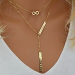 Gold Lariat Necklace, Name Necklace, Double Bar Necklace, Engraved Necklace Bar, Personalized Necklace Gold, Silver, Rose Gold
