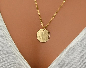 Large Disc Necklace, Monogram Necklace, Gold Necklace, Initial Disc Necklace, Rose Gold, 14k Gold Fill, Sterling Silver Name Disc Necklace