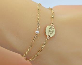 Dainty Pearl Link Bracelet, Personalized Layered Bracelet, Tiny Pearl Bracelet Gold, Delicate Layering Bracelet, 14k Gold Fill, Silver