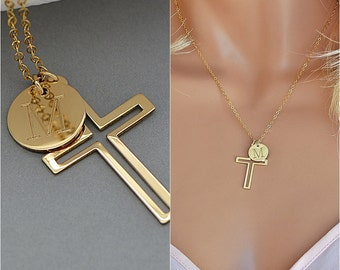 Personalized Cross Necklace, Gold Cross Necklace with Initial Disc and Birthstone, Name Cross Necklace, Gift For Her, Cross Necklace Women