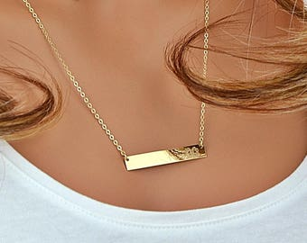 14k Gold Bar Necklace, gold Bar Necklace Personalize, Initial Bar Necklace, Horizontal Bar, Engraved, Customized