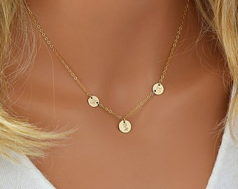 Delicate Personalized Disc Necklace, 3 Initial Necklace, Monogram Necklace Gold or Silver, Dainty Personalized Necklace