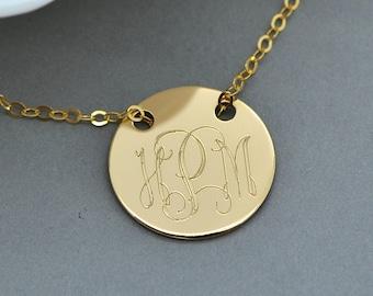 Gold Monogram Necklace, Engraved Disc Necklace, Personalized Necklace, Custom Monogram, Initial Necklace, Pesronalized Disc