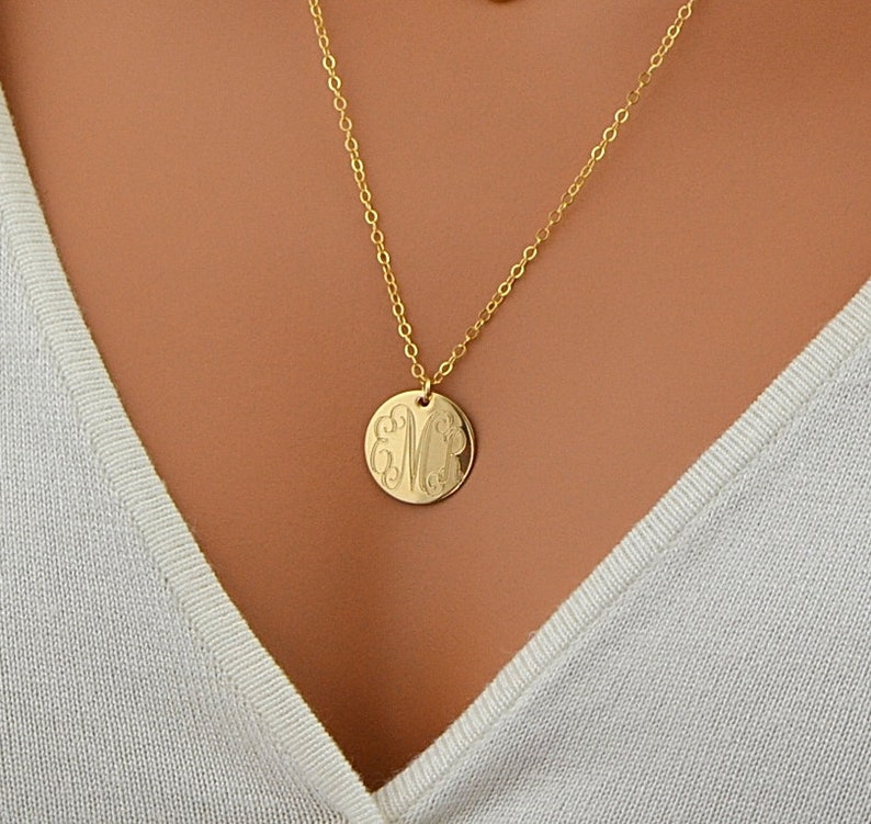 Large Disc Necklace Monogram Necklace Gold Necklace Initial image 0