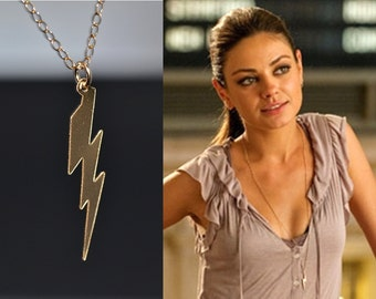 Lightning Bolt Necklace, Gold or Silver Lightning Bolt necklace, Lightning Bolt Charm, Mila Kunis, Celebrity Inspired