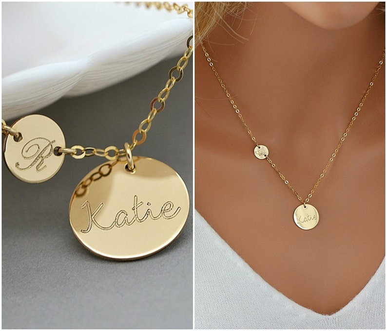 Personalized Initial Necklace Initial Disc Name Disc image 0