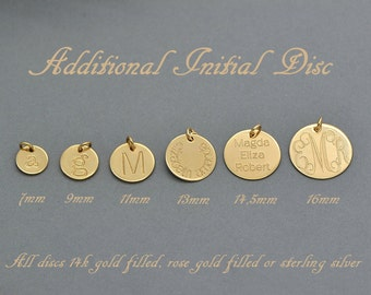 Additional Initial Charm / Additional Initial Disc / Add a sterling Silver, 14k Gold Filled or Rose Gold Filled Initial Disc