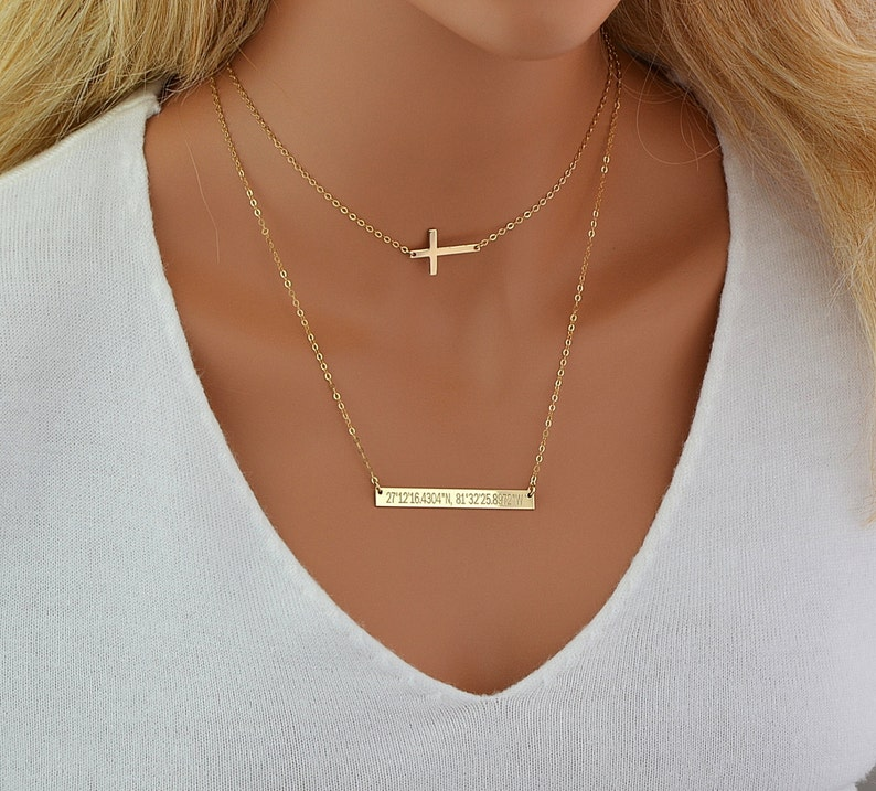 Choker Necklace Set Layering Necklace Gold Cross Necklace image 0