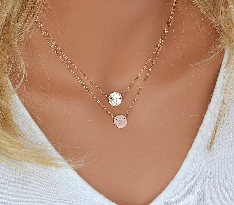 Layering Necklace Disc Necklace Personalized Layered image 0