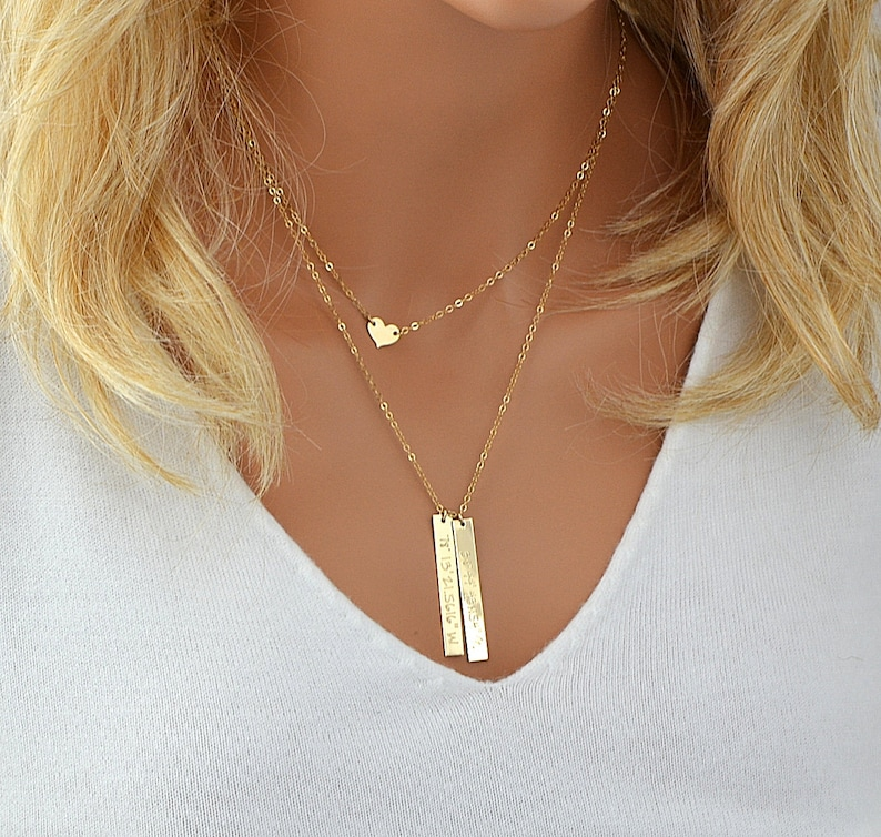 Personalized Layered Necklace Vertical Bar Necklace Layering image 0