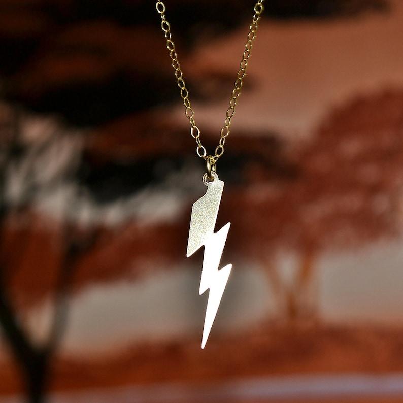 Celebrity Inspired Lightning Bolt Charm Mila Kunis Lightning Bolt Necklace Gold or Silver Lightning Bolt necklace
